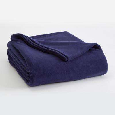 Microfleece Navy Polyester Full/Queen Blanket