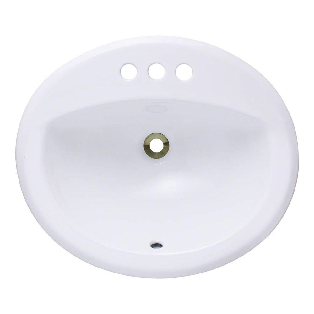 Polaris Sinks Overmount Porcelain Bathroom Sink In White