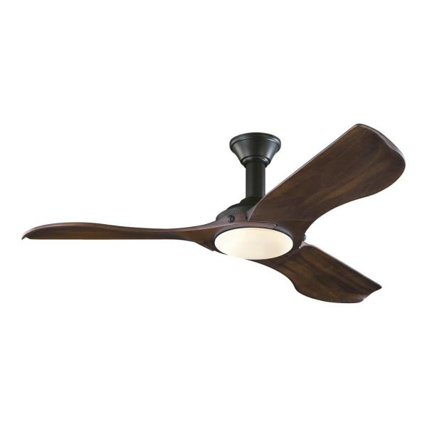 Minimalist 56 in. LED Indoor/Outdoor Black Ceiling Fan with Dark Walnut Balsa Blades and Remote Control