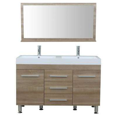 The Modern 47 in. W x 18.75 in. D Bath Vanity in Light Oak with Acrylic Vanity Top in White with White Basin and Mirror