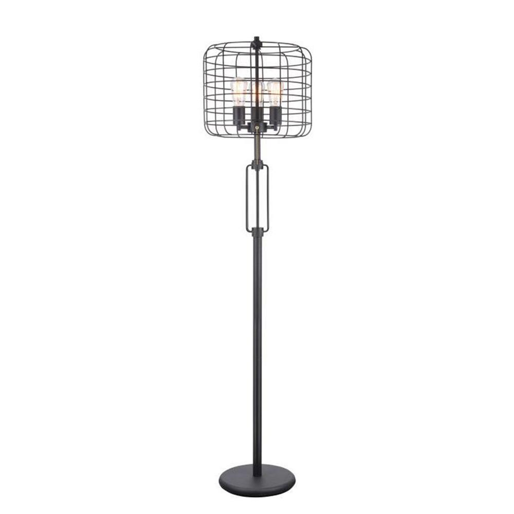 Edison 63 in. Black Industrial Cage Floor Lamp