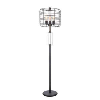 Edison 63 in. Black Industrial Cage Floor Lamp
