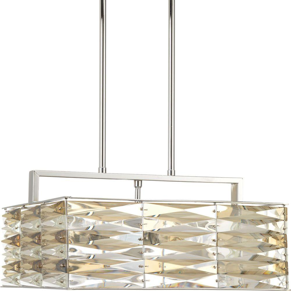 The Pointe Collection 5-Light Polished Chrome Pendant with Clear And Champagne