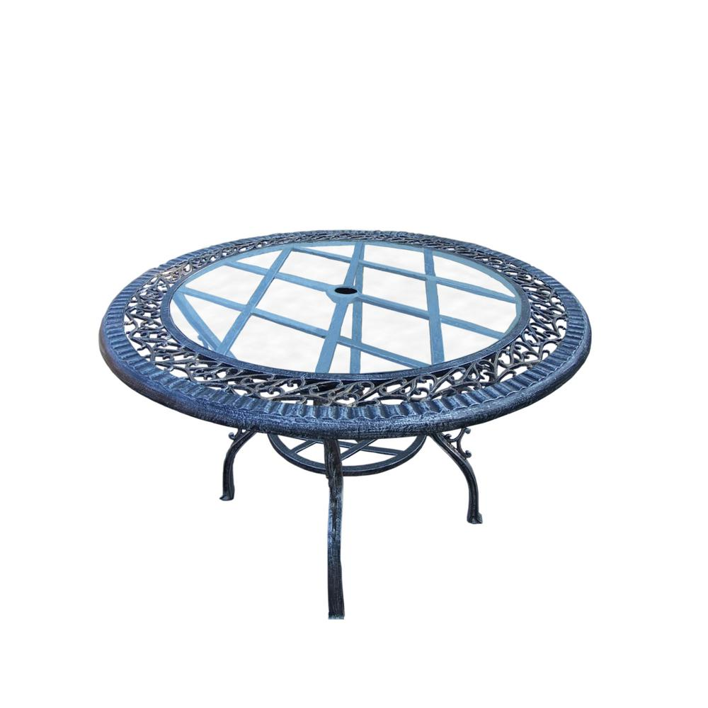 Antique Pewter 48 in. Round Iron Outdoor Dining Table with Tempered