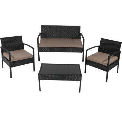 Anadia Black Rattan 4-Piece Wicker Patio Conversation Set with Taupe Cushions