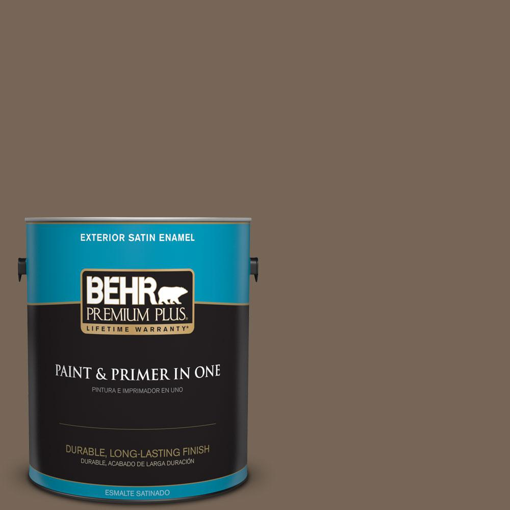 BEHR Premium Plus 1-gal. #N220-6 Landmark Brown Satin Enamel Exterior Paint