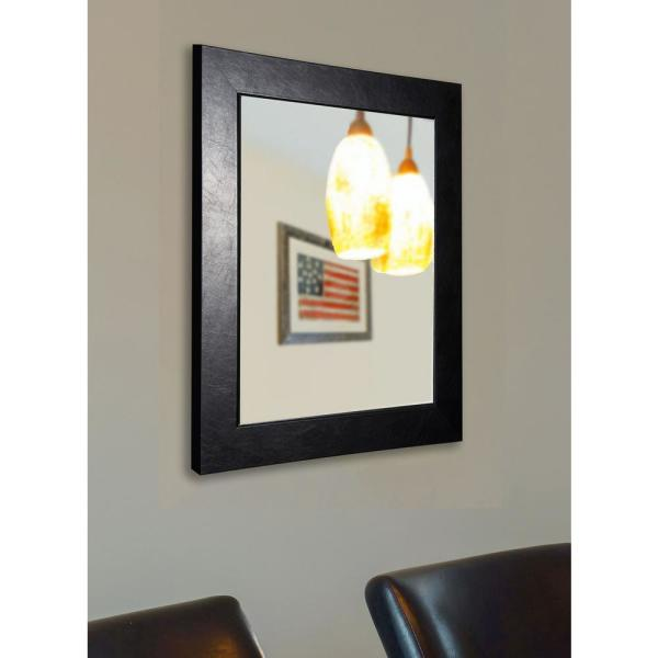 39 in. x 45 in. Executive Black Non Beveled Vanity Wall