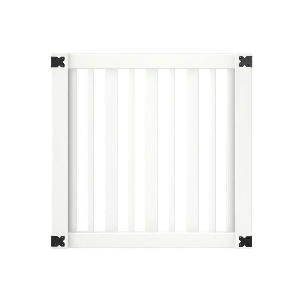 4 ft. W x 4 ft. H White Vinyl Lafayette Fence Gate Kit