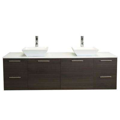 Luxury 72 in. W x 21 in. D x 26 in. H Vanity in Gray-Oak with Glassos Vanity Top in White with White Double Basin