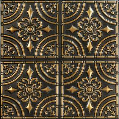 Wrought Iron 2 ft. x 2 ft. PVC Glue-up Ceiling Tile in Antique Gold (100 sq. ft. / case)