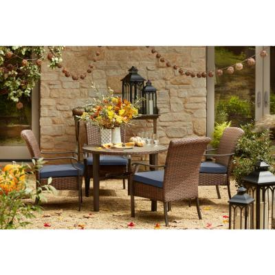 Harper Creek Brown 5-Piece Steel Outdoor Patio Dining Set with CushionGuard Steel Blue Cushions