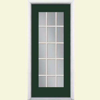 15 Lite Painted Steel Prehung Front Door with Brickmold