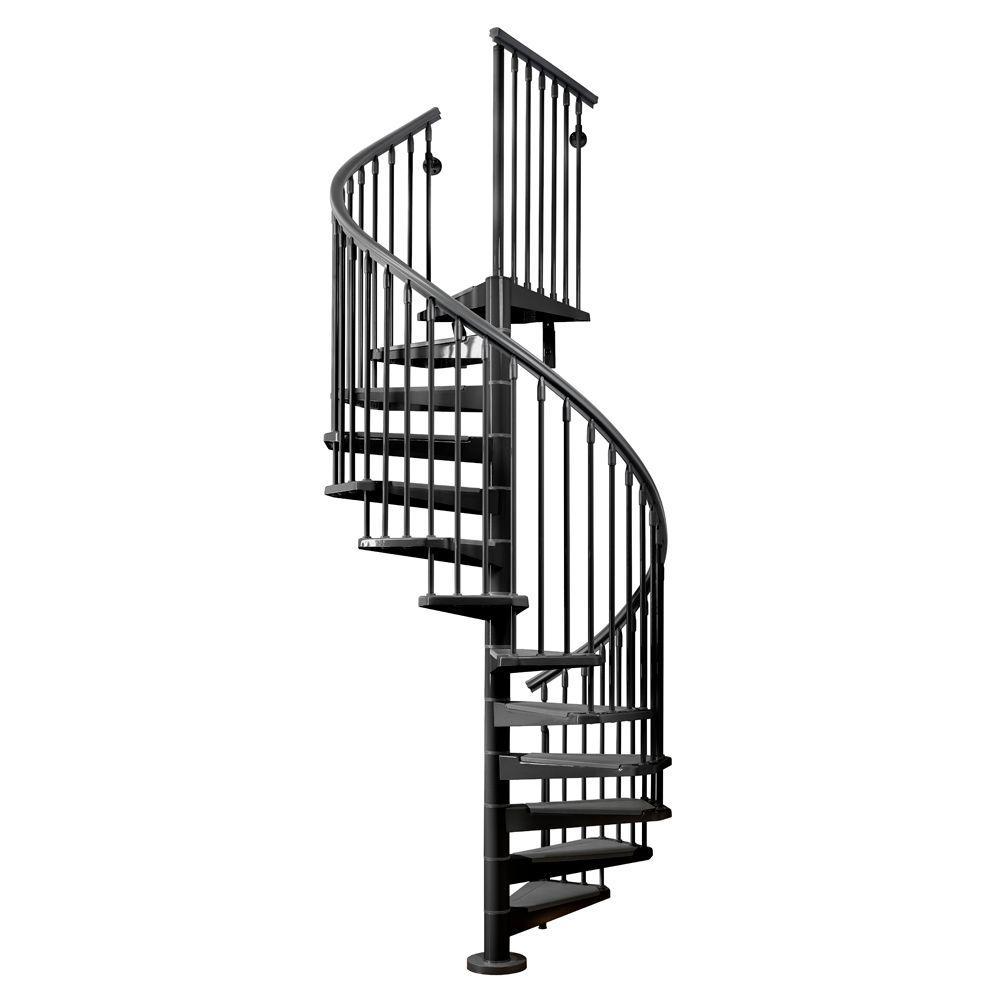 Arke Eureka 55 in. Black Spiral Staircase Kit