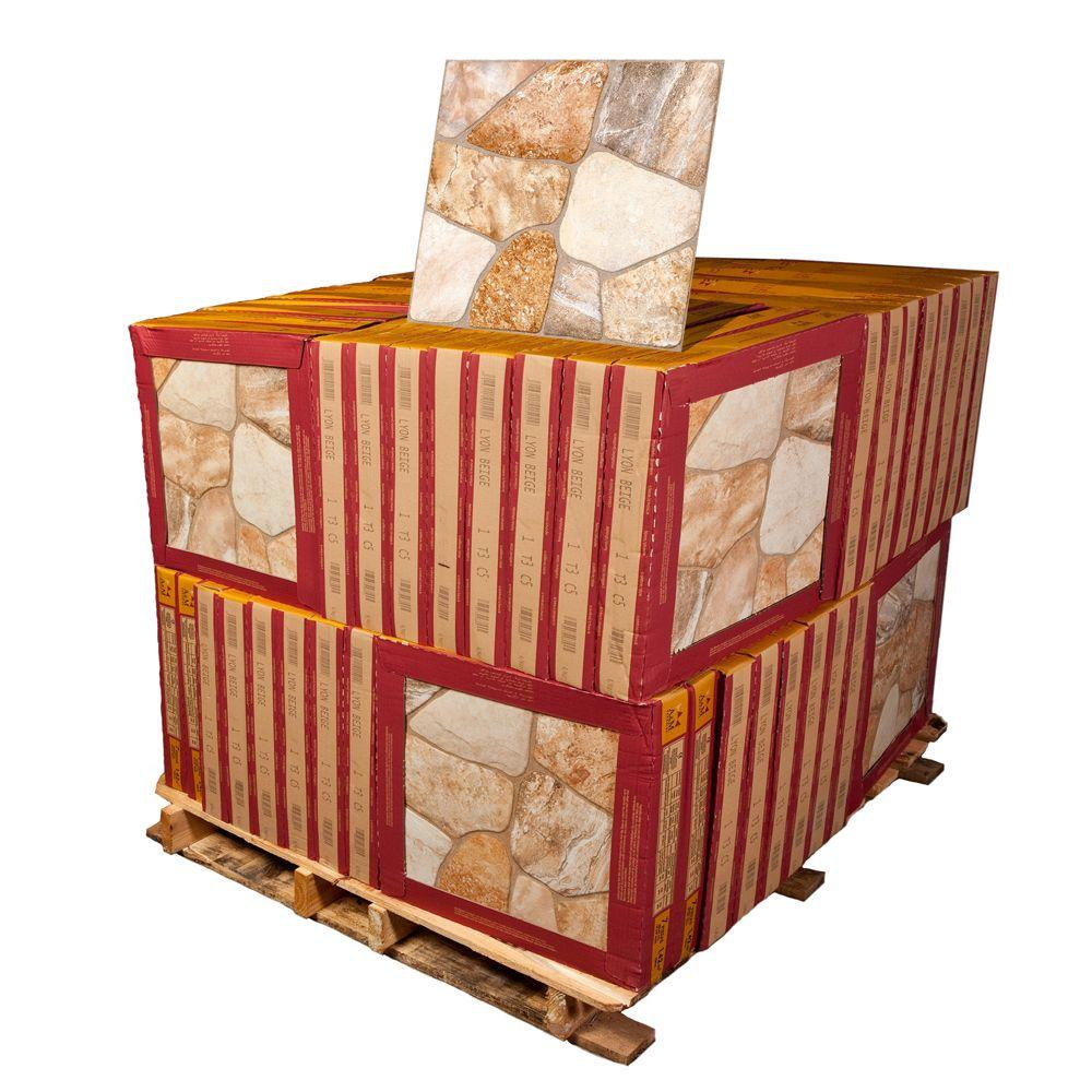 Merola Tile Lyon Beige 17-3/4 in. x 17-3/4 in. Ceramic Floor and Wall Tile (64 cases / 980.194 sq. ft. / pallet)