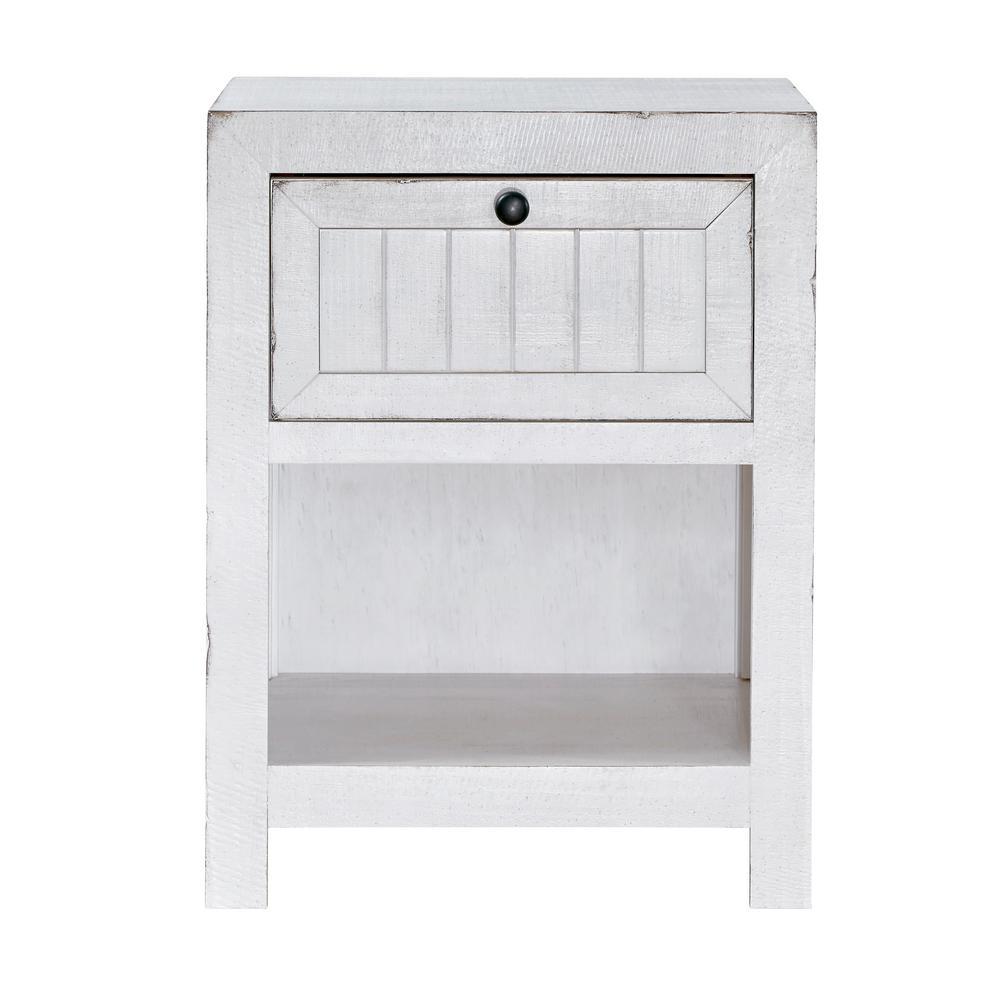 Elmhurst 1-Drawer Cotton White Nightstand