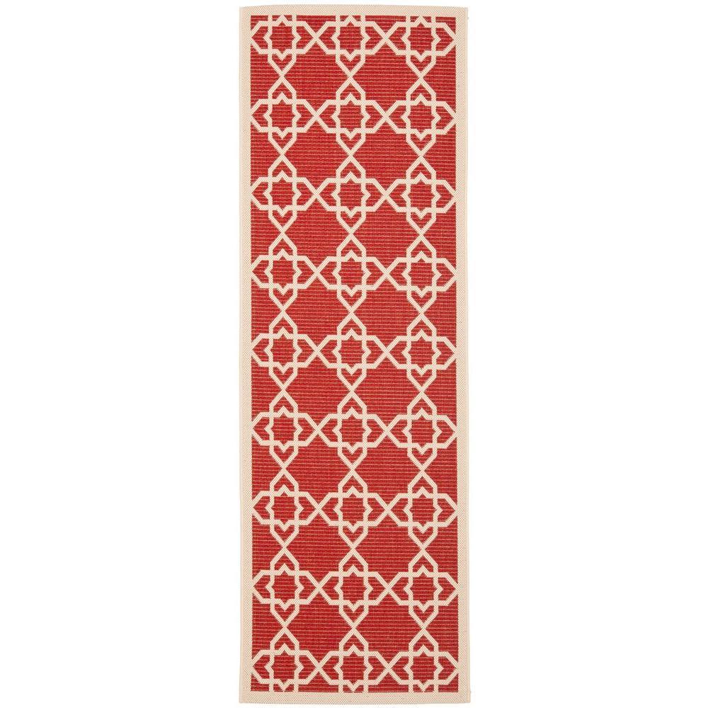 Safavieh Courtyard Red/Beige 2 ft. 3 in. x 12 ft. Indoor/Outdoor Runner