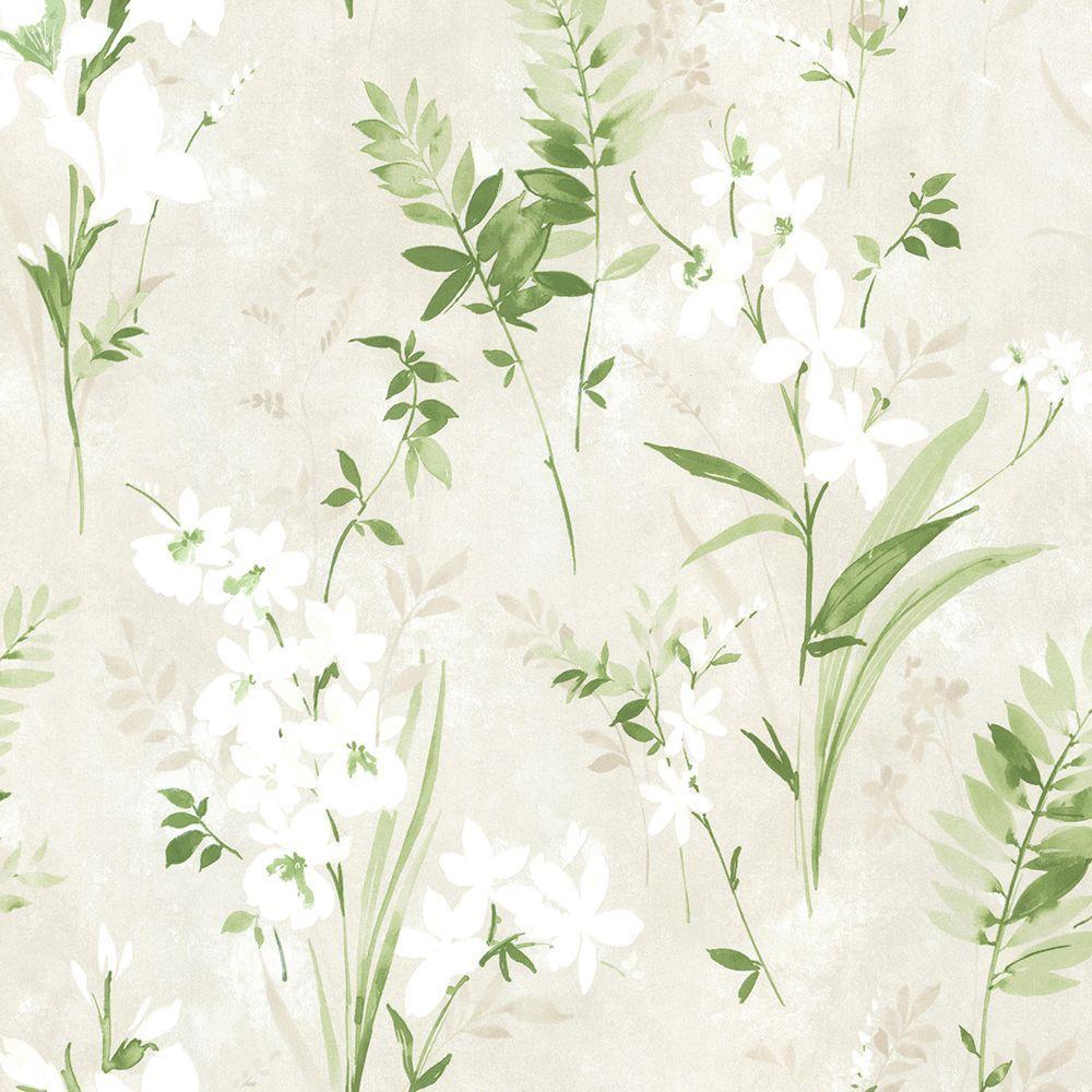 Brewster Driselle Green Floral Wallpaper 2686-21628