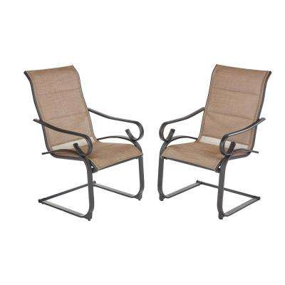 Crestridge Steel Padded Sling C-Spring Outdoor Patio Dining Chair in Putty Taupe (2-Pack)