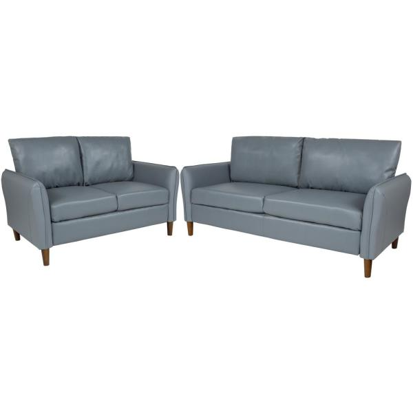 2-Piece Gray Colored Living Room Set