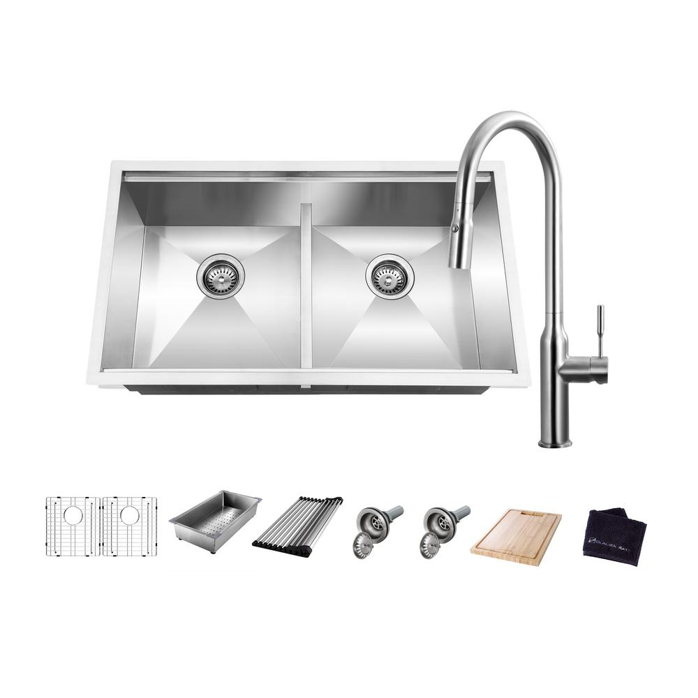 GlacierBay Glacier Bay All-in-One Undermount Stainless Steel 33 in. 50/50 Double Bowl Workstation Kitchen Sink with Faucet and Accessories, Brushed Stainless