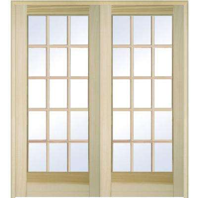 60 in. x 80 in. Both Active Unfinished Poplar Glass 15-Lite Clear True Divided Prehung Interior French Door