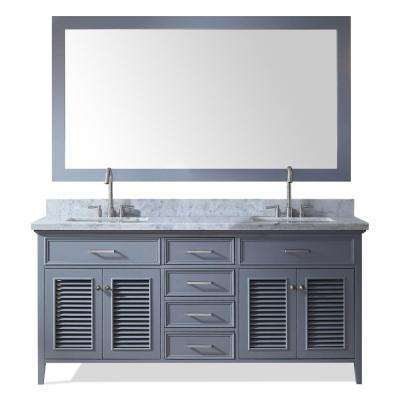 Kensington 73 in. Bath Vanity in Grey with Marble Vanity Top in Carrara White with White Basin and Mirror