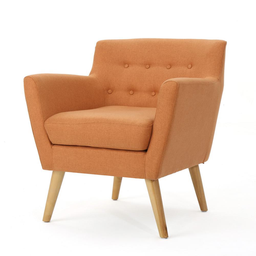 Meena Mid-Century Modern Button Back Orange Fabric Club Chair