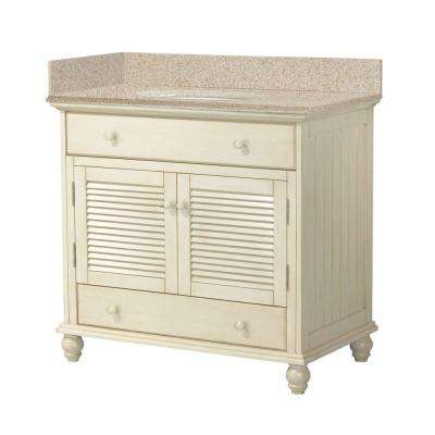 Cottage 37 in. W x 22 in. D Vanity in Antique White with Granite Vanity Top in Beige with White Basin