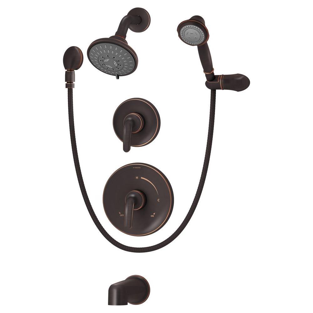 Elm 2-Handle Tub/Shower/Hand Shower Faucet Trim in Seasoned Bronze (Valve Not Included)