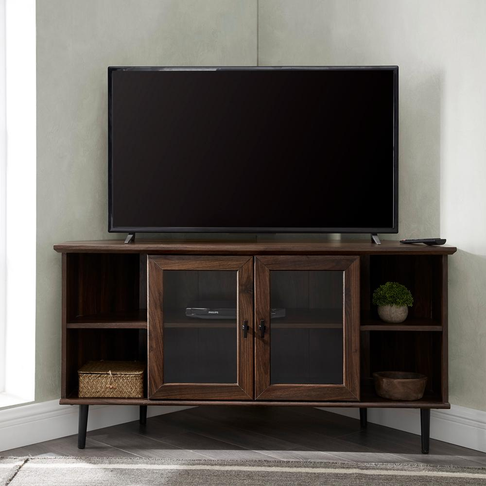 Welwick Designs Dark Walnut Corner Tv Console For S Up To