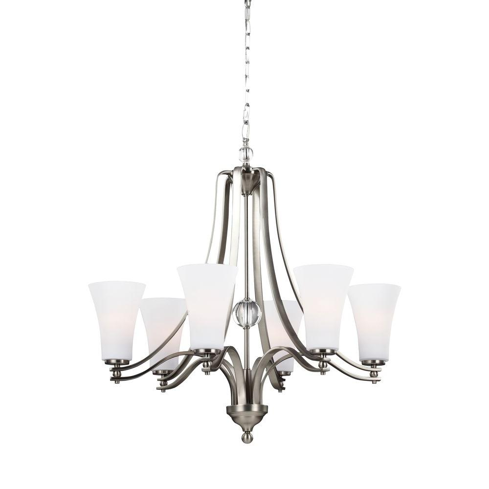 Evington 6-Light Satin Nickel Single Tier Chandelier Shade