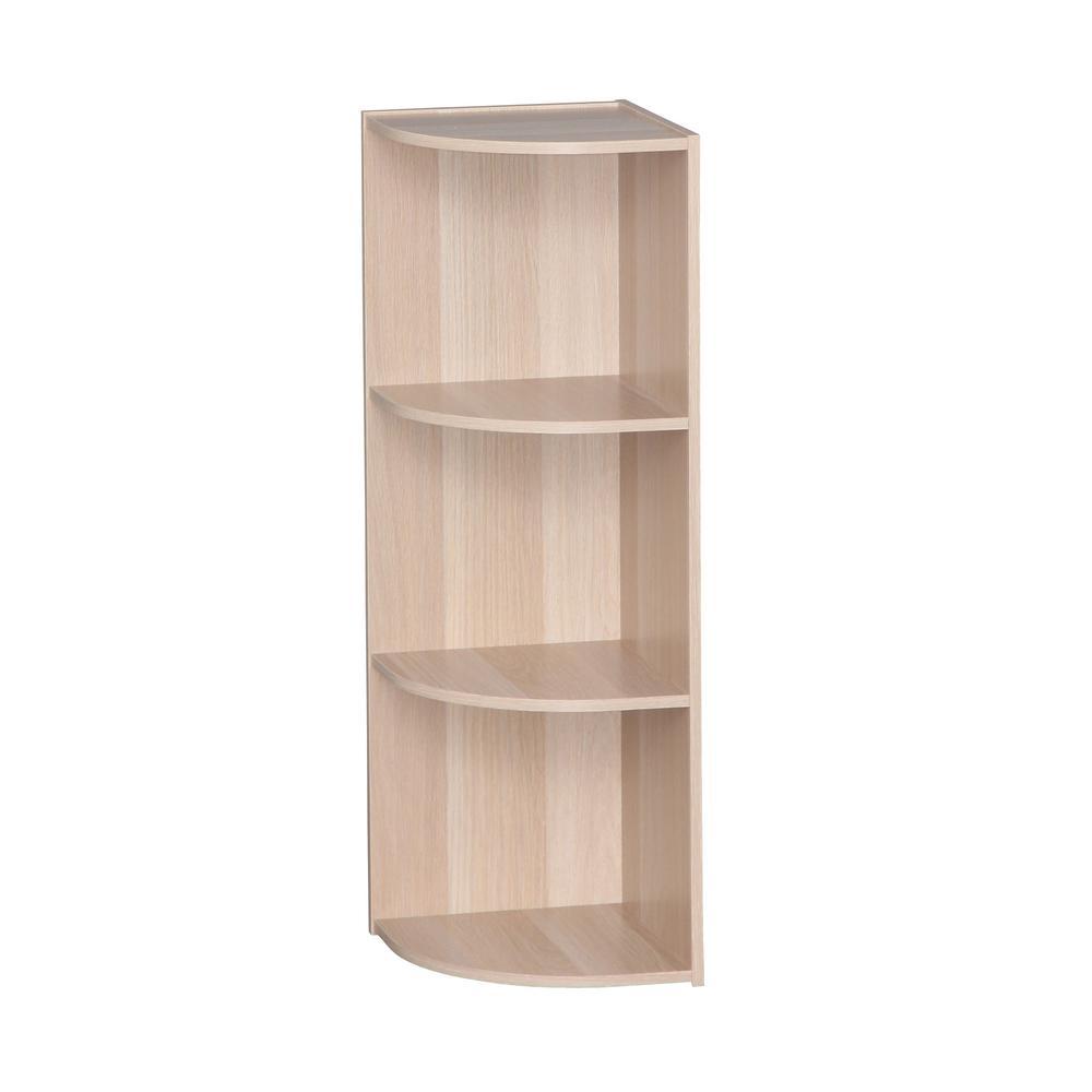 IRIS Light Brown 3-Tier Corner Curved Shelf Organizer