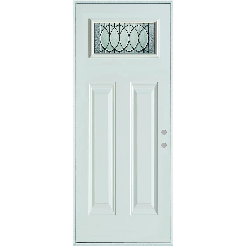 36 in. x 80 in. Nightingale Patina Rectangular 1 Lite 2-Panel Painted Left-Hand Inswing Steel Prehung Front Door