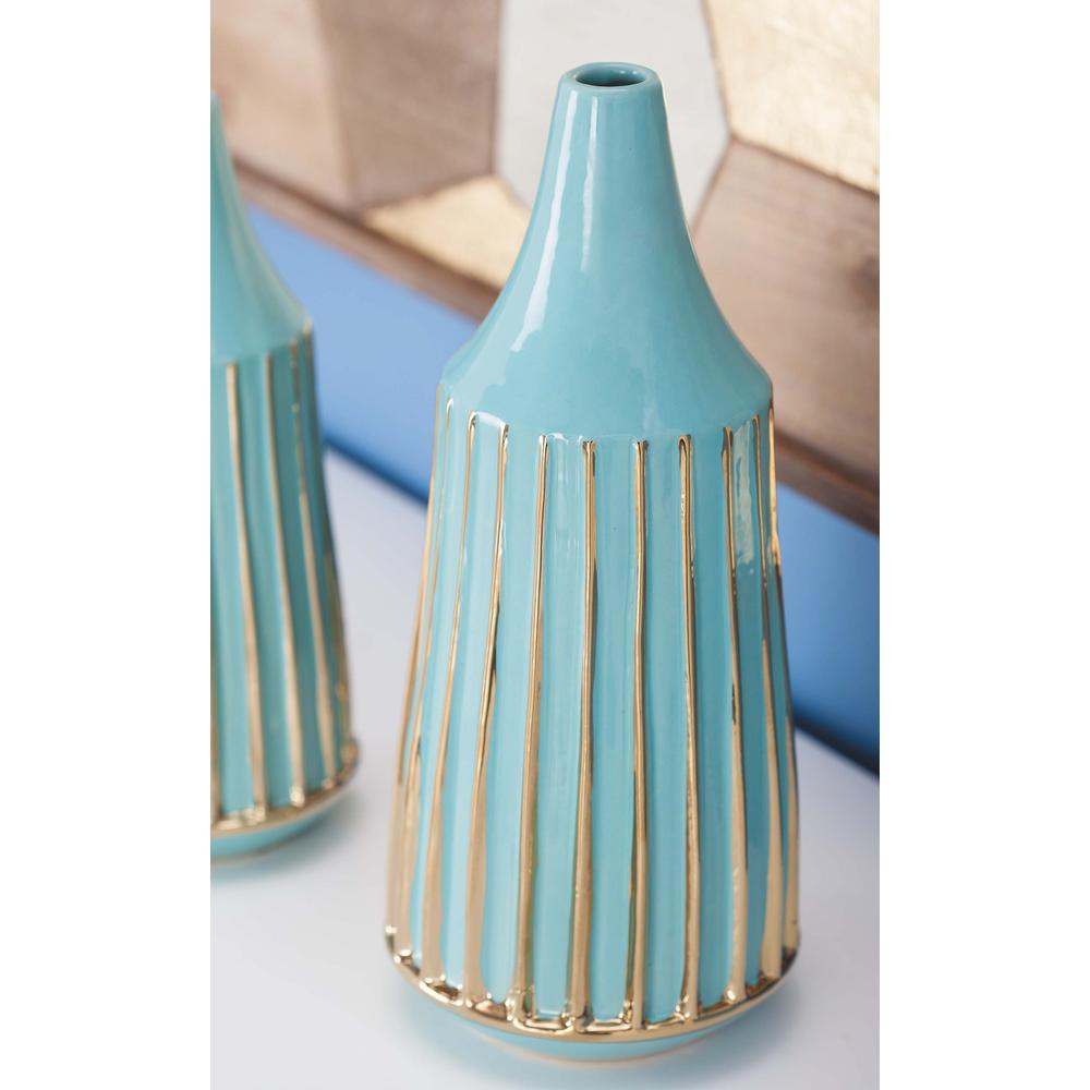 13 in. Glazed Blue and Gold Ceramic Decorative Vase