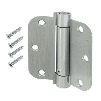 3-1/2 in. x 5/8 in. Radius Satin Chrome Adjustable Spring Door Hinge
