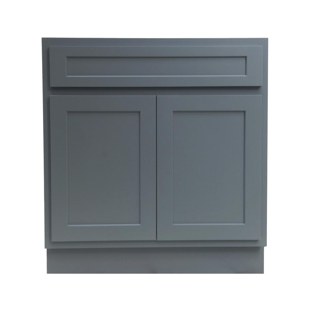 30 in. W x 21 in. D x 32.5 in. H 2-Doors Bath Vanity Cabinet Only in Gray