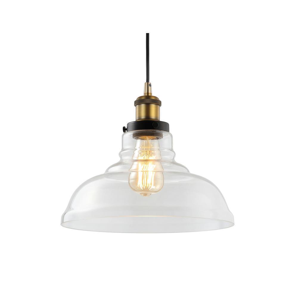Litchfield 11 in. 1-Light Brass Gold Farmhouse Metal/Glass LED Pendant