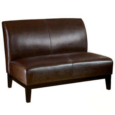 Darcy 46.5 in. Brown Leather 2-Seater Armless Loveseat with Wood Legs