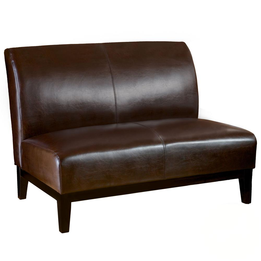 Noble House Noble House Darcy Brown Bonded Leather Loveseat, Brown Leather