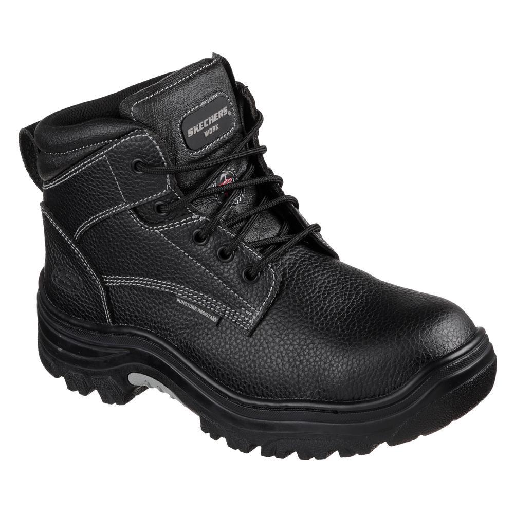 Skechers Men S Burgin 6 Work Boots Steel Toe Black Size 14 W 77143w 14 The Home Depot