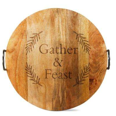Gather and Feast Mango Wood Serving Board with Iron Handles