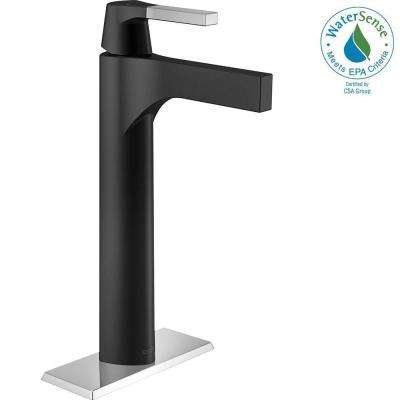 Zura Single Hole Single-Handle Vessel Bathroom Faucet in Chrome/Matte Black