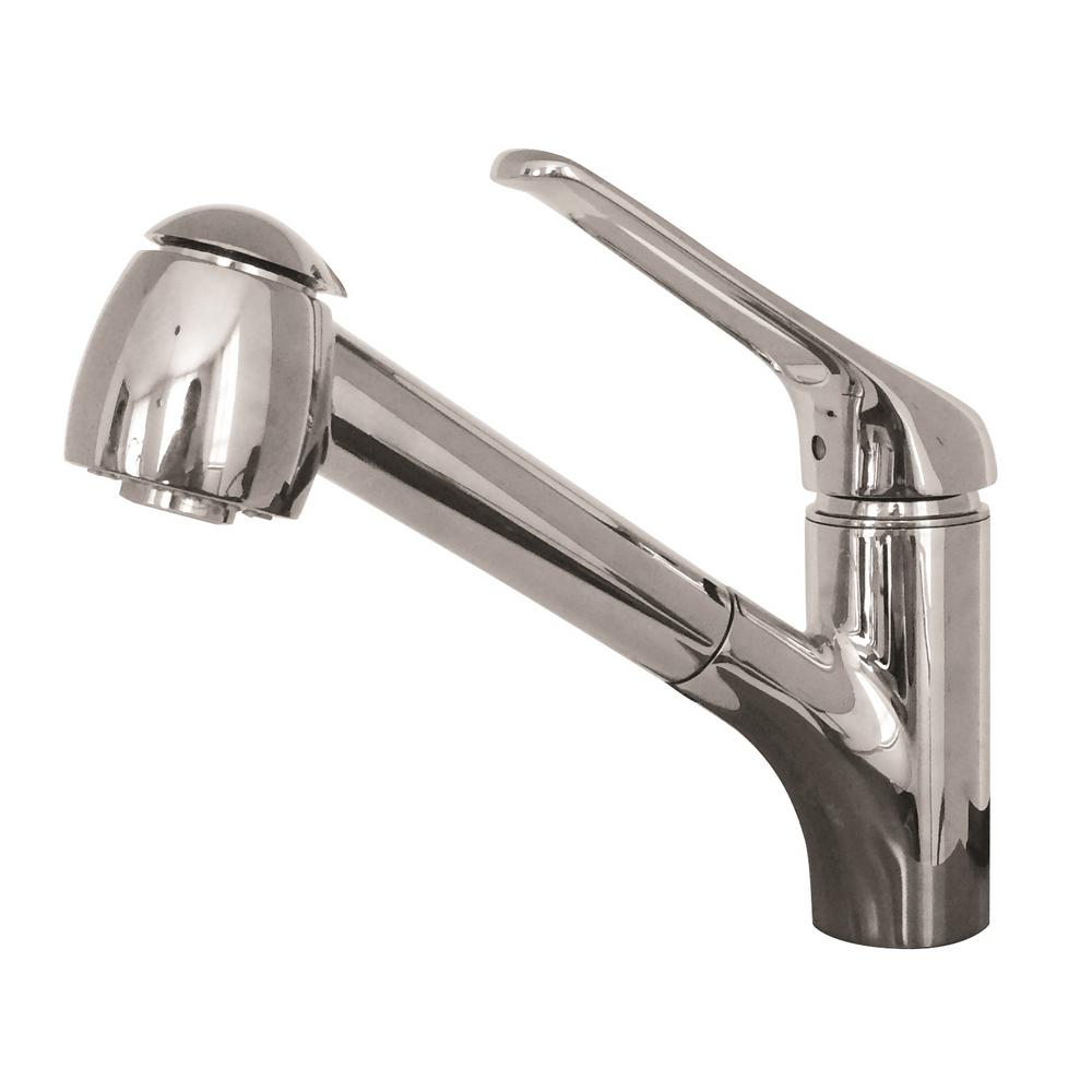 Valais Single-Handle Pull-Out Sprayer Kitchen Faucet with Water Saver in Satin