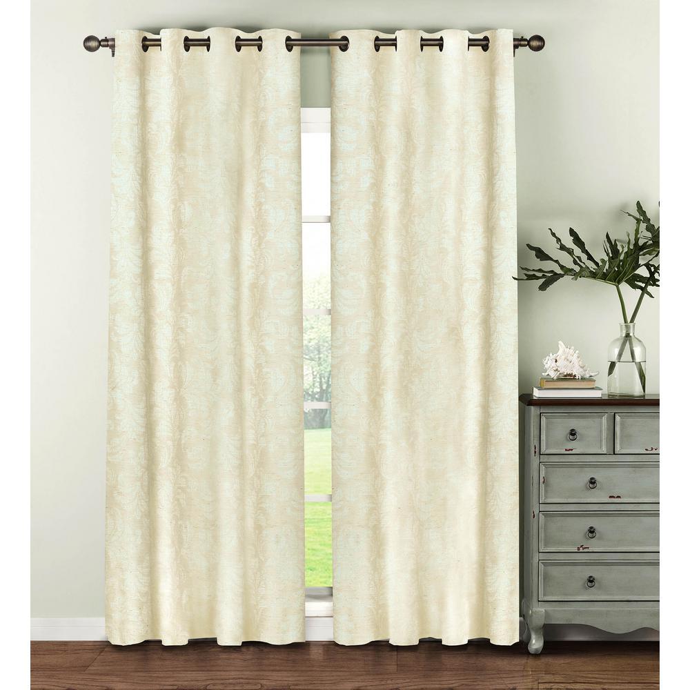 Semi-Opaque Dover Linen Blend 84 in. L Grommet Curtain Panel Pair,