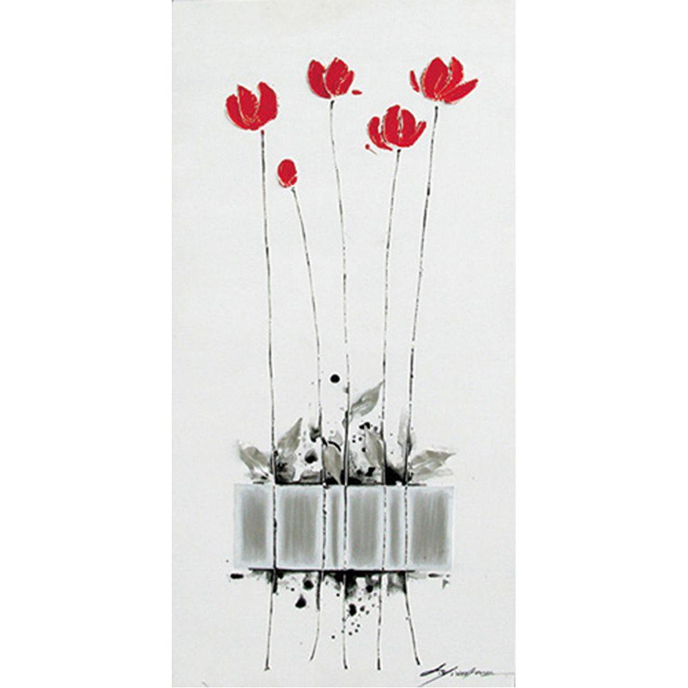 """Yosemite Home Decor 39 in. x 20 in. """"Tulips Planted"""" Hand Painted Contemporary Artwork"""