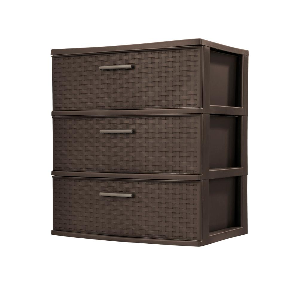 Sterilite 3 Drawer Plastic Wide Weave Tower In Espresso