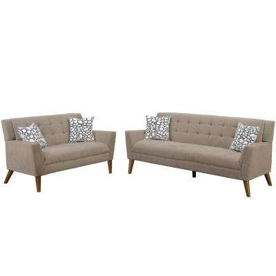 Cagliari 2-Piece Sand Sofa Set