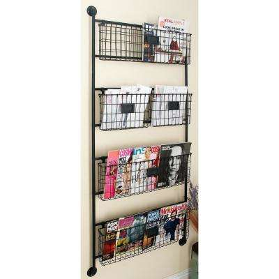 24 in. W x 61 in. H 4-Tiered 5-Basket Metal Wall Rack in Metallic Black