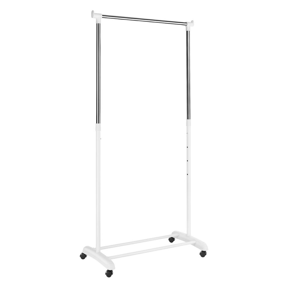 Whitmor 18.25 in. L x 33 in. W x 66 in. H White Adjustable Garment Rack and Stand on Wheels, Grey The Whitmor Adjustable Garment Rack can give you that extra hanging space you need in the laundry room, dorm room or anywhere additional hanging space is needed. The white epoxy coated metal frames create a sturdy space to hang extra clothing or coats. Perfect for storing seasonal items out of the way. Color: Chrome.