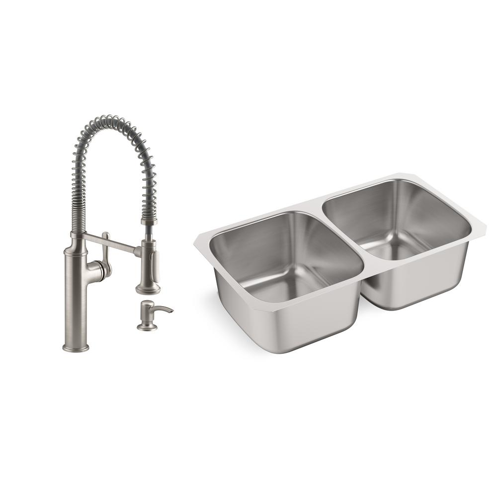 Kohler Ballad Undermount Stainless Steel 31 5 In Double Bowl Kitchen Sink With Sous Faucet